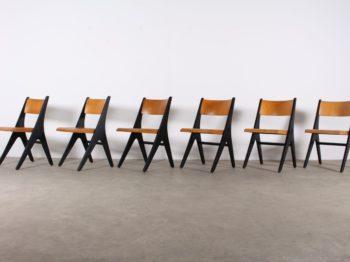 """Rare suite de chaises """"Penguin"""" CASALA par Carl Sasse"""