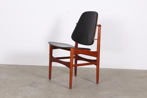 Chaise en cuir et teck Arne Hovmand Olsen