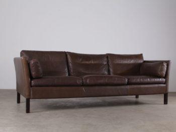 canapé coussins de cuir marron 3 places 1970 design vintage scandinave nordique à liège