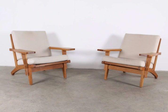 """Rare paire de fauteuils """"GE 375"""" - HANS J. WEGNER pour GETAMA"""