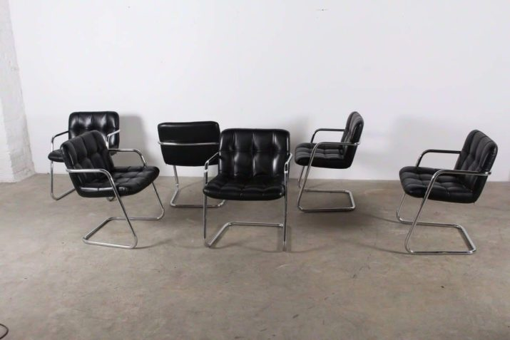 """6 fauteuils en cuir """" FB 403 STORM"""" - Yves Christin pour Airborne"""