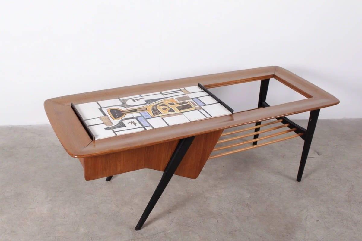 rare table basse ouvrante alfred hendrickx pour belform meubles vintage li ge. Black Bedroom Furniture Sets. Home Design Ideas