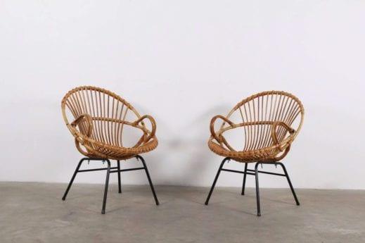 """Paire de fauteuils """"bambou"""" - Rattan Rohe"""