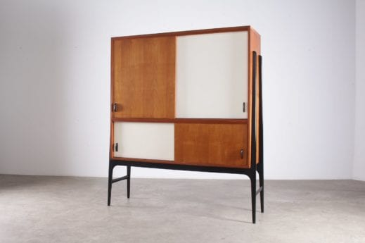 armoire cabinet portes coulissantes et tiroirs pieds fuseaux compas noirs design vintage belgique expo 58 à liège
