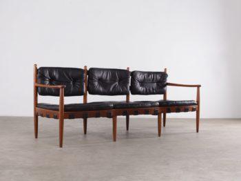 banquette design vintage scandinave danemark coussins de cuir noir à liège