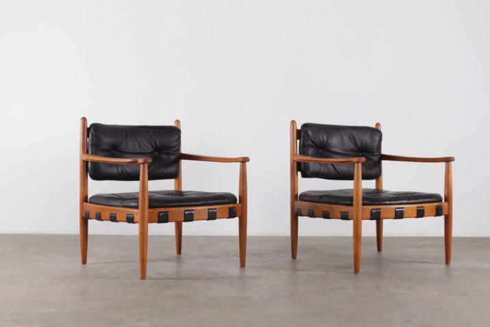 fauteuils clubs en teck design vintage scandinave danemark années 60 à Liège