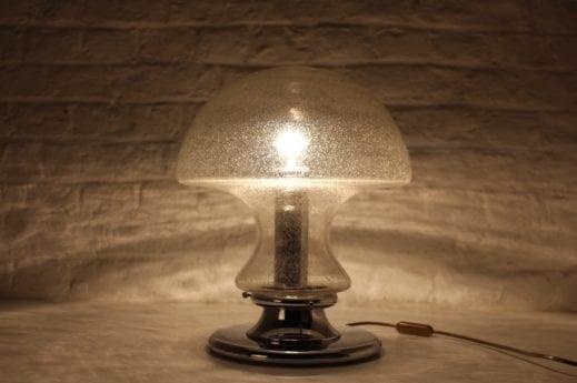 Lampe champignon en verre bullé 1970