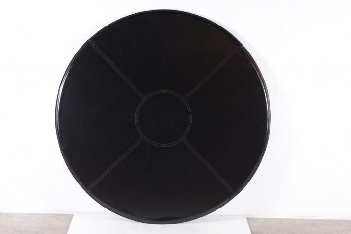 Table ronde en cuir noir Tito Agnoli pour Mateo Grassi