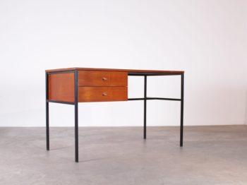 bureau en acier et teck 2 tiroirs design vintage guariche Meurop à liège addict
