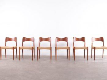 Six chaises design vintage scandinave en teck et jonc de mer tressé à Liège