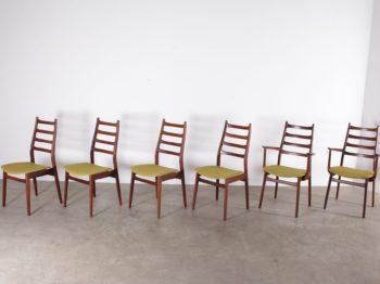 six chaises design vintage scandinave en palissandre assise tissus vert acidulé à liège