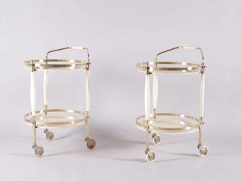 dessertes trolley bar roulant en laiton et bois laqué 2 plateaux de verre teinté design vintage liège addict