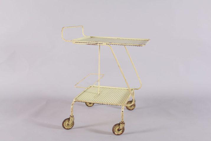 desserte trolley bar roulant en acier design vintage France matégot jousse à liège addict
