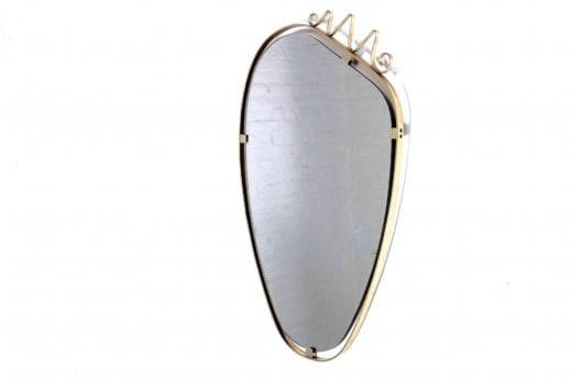 miroir années 60 bord cadre doré laiton forme libre design vintage liège