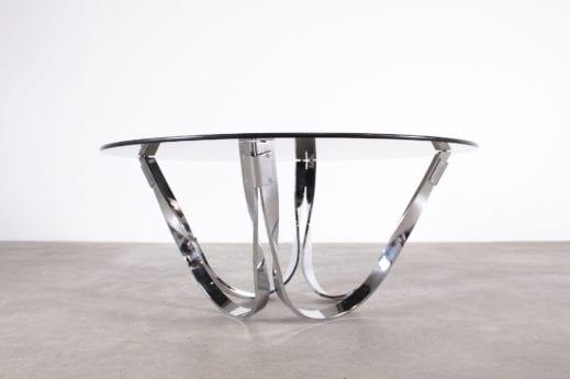 table basse ronde dalle de verre fumé et pieds réversible en acier miroir design vintage années 70 à Liège Addict