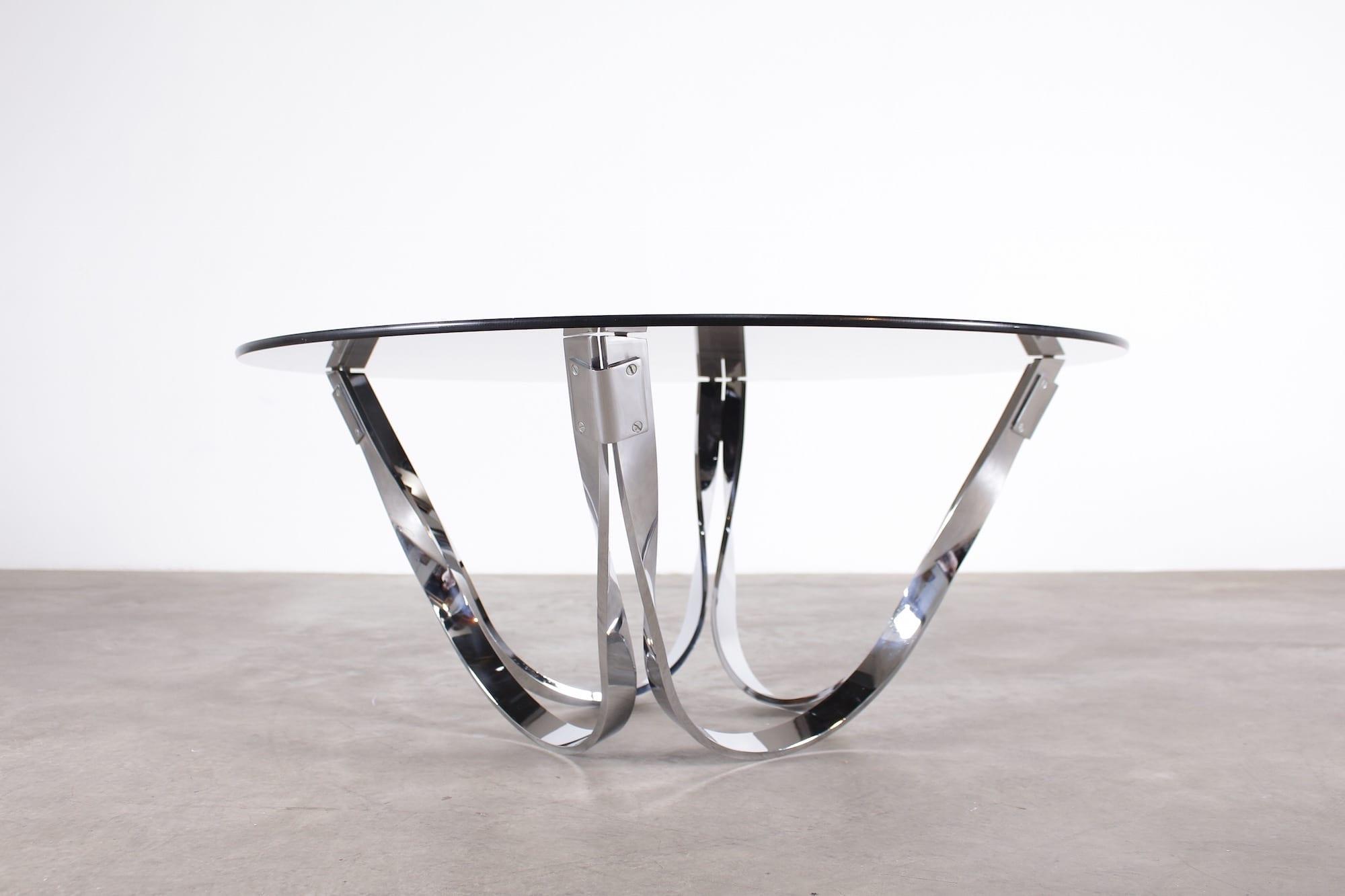 table basse ronde en chrome style roger sprunger meubles vintage li ge. Black Bedroom Furniture Sets. Home Design Ideas
