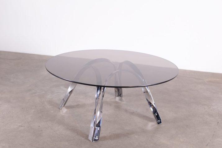 Table basse ronde en chrome style Roger Sprunger