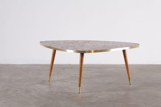 table basse tripode forme triangle en mosaique de céramique bord de laiton à liège addict
