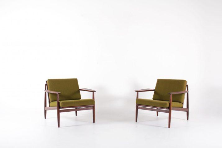 paire de fauteuils vintage en teck design danemark arne vodder tissus vert à liège belgique