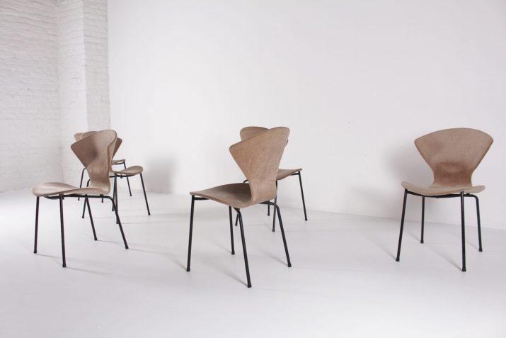 Geneviève Dangles pour Burov, 6 chaises.