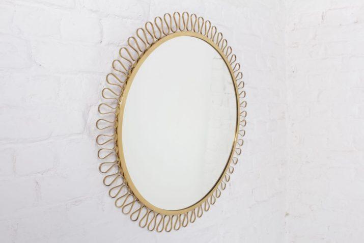 miroir rond design vintage josef frank boucles de laiton