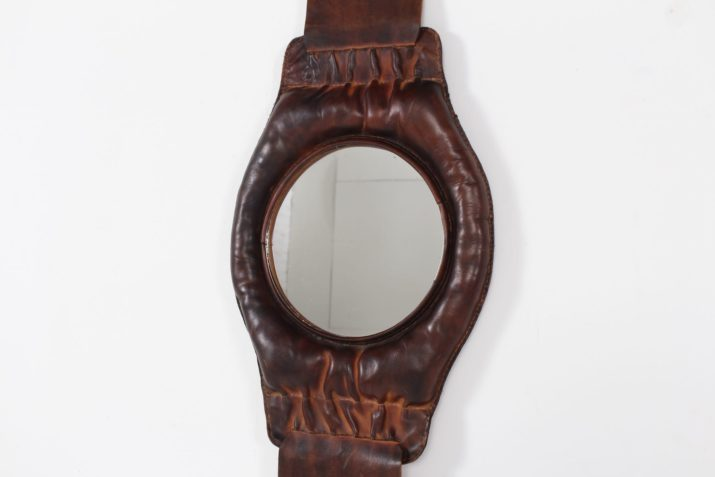 Miroir vide poche mural en cuir