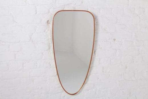miroir design vintage cadre en laiton années 50 60 forme libre à liège