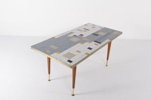 table basse design vintage en mosaic de céramique années 60 à Liège