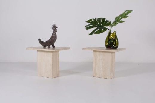 paire de petites tables basses en travertin marble vintage liège