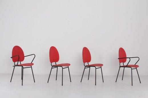 chaises vintage hitier vinyle rouge acier tube France reconstruction