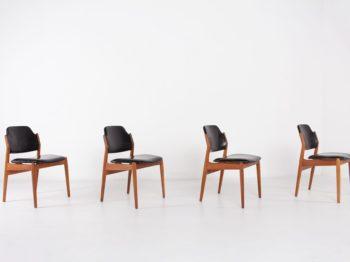 chaises vintage scandinave teck cuir noir arne vodder sibast