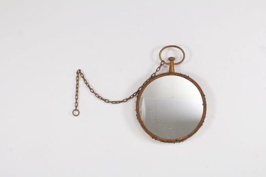 miroir rond en métal doré vintage montre gousset à liège belgique