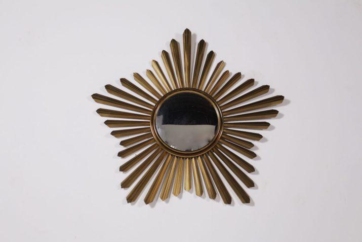 miroir soleil sorcière convexe vintage en laiton