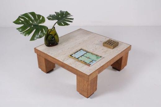 table basse vintage carrée en chêne et travertin à Liège Belgique wallonie