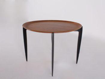 table basse ronde pliante fritz hansen pieds noirs plateau amovible design vintage à liège addict