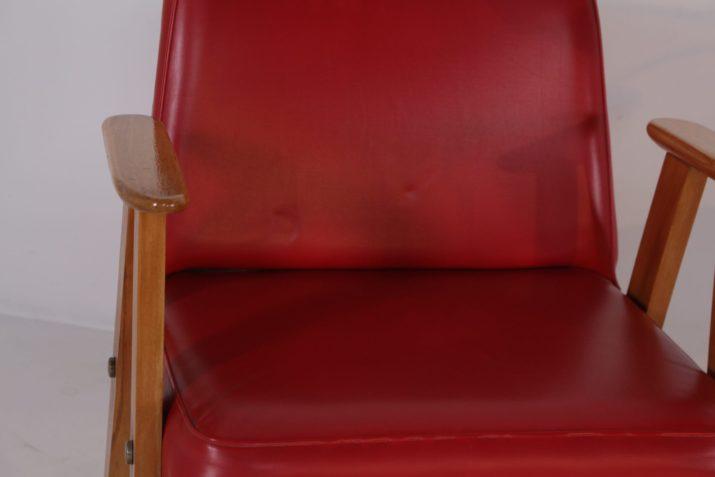 Paire de fauteuils pieds compas