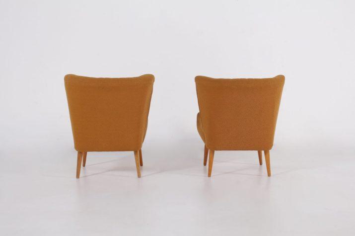 """Paire de fauteuils """"cocktail"""" moutarde"""