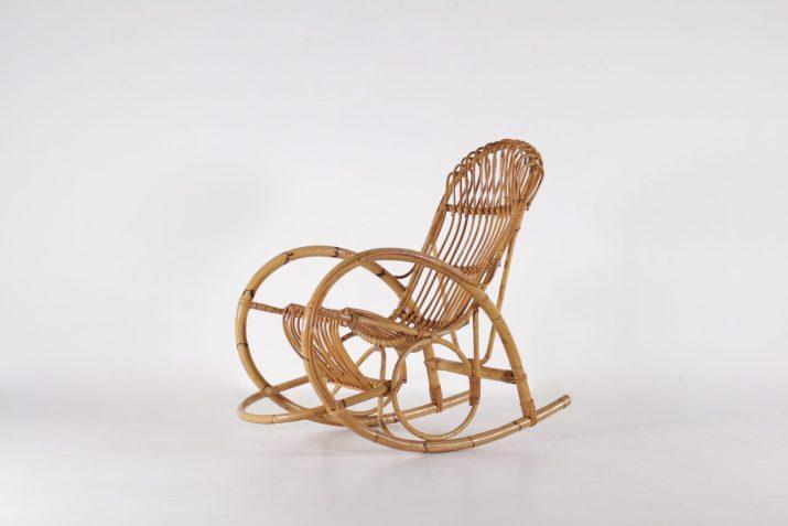 Rocking chair en bambou style Franco Albini