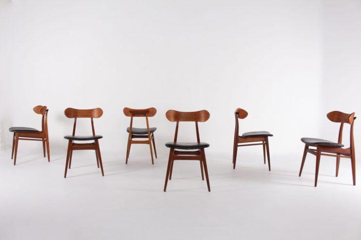 Louis van Teeffelen 6 chaises assises cuir