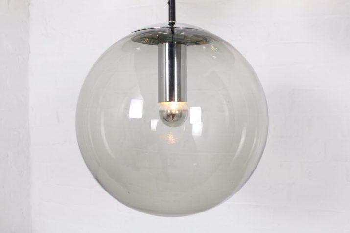 3 suspensions globes de verre 1970
