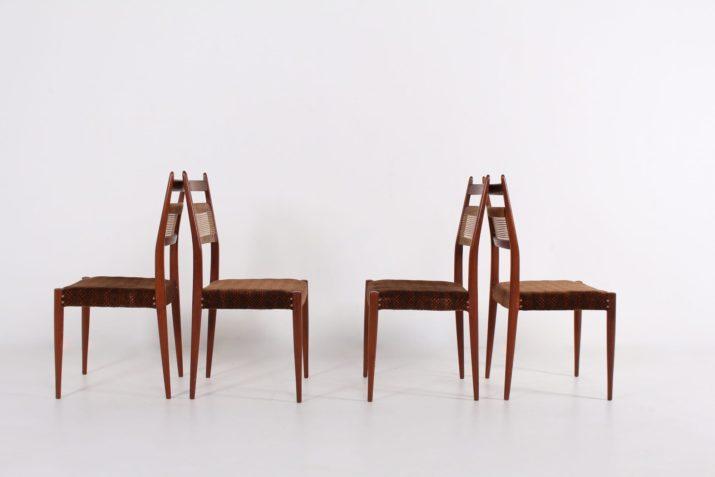 4 chaises scandinaves dossiers cannés