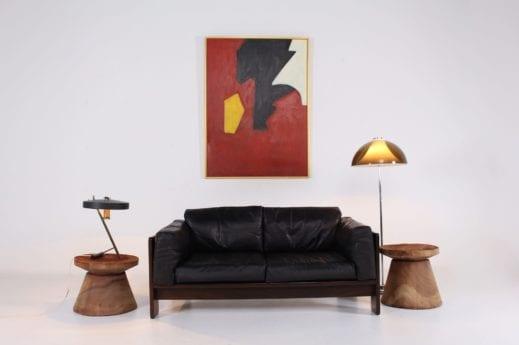 Tobia Scarpa & Gavina, sofa Bastiano en cuir et palissandre