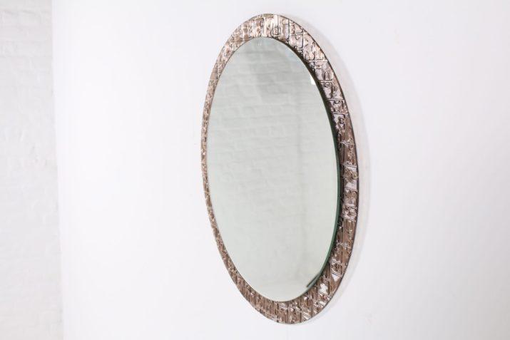 Miroir rond sur verre teinté