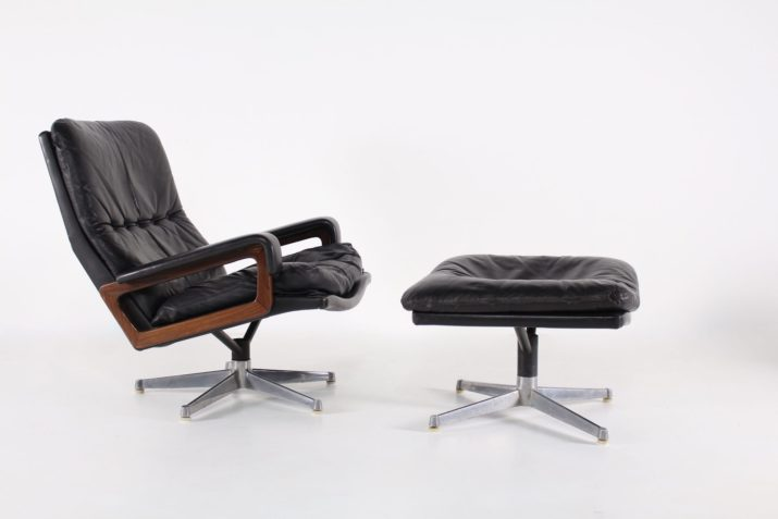 """""""King chair"""" & son ottoman en cuir noir"""
