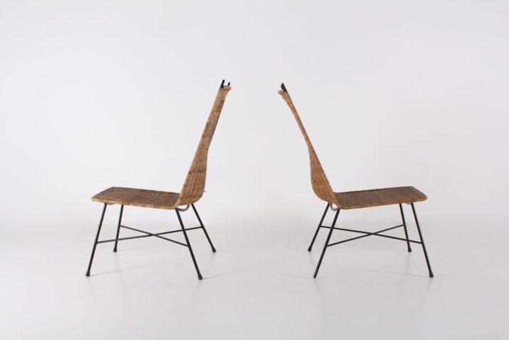 Paire de chaises basses 1950
