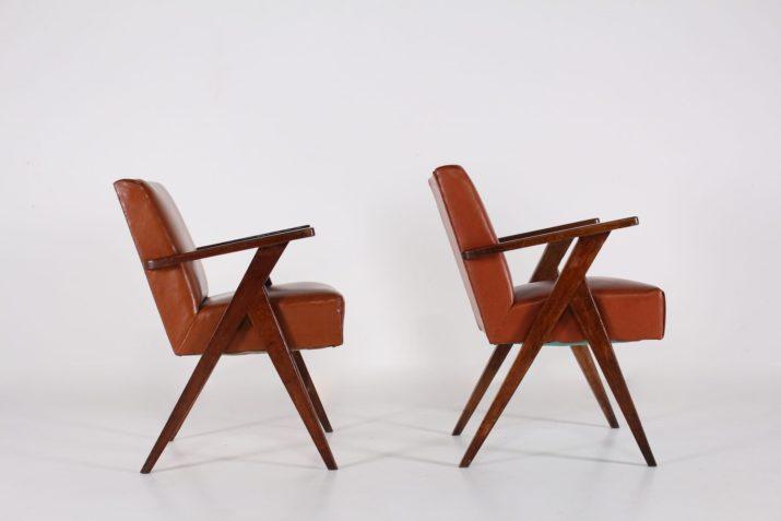 Paire de fauteuils compas 1950's