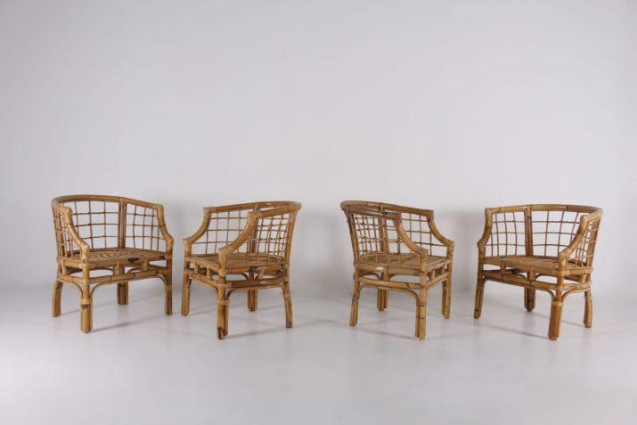 4 fauteuils en bambou 1970