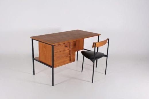 Bureau moderniste et sa chaise tripode Günter Renkel