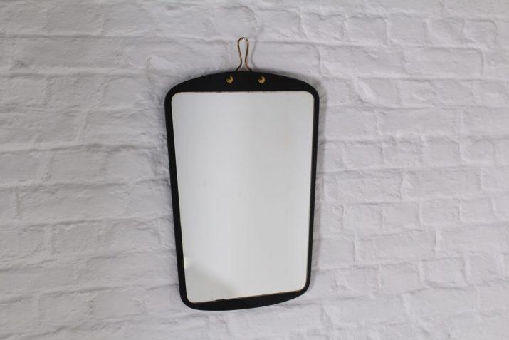 Miroir forme libre verre noir et laiton