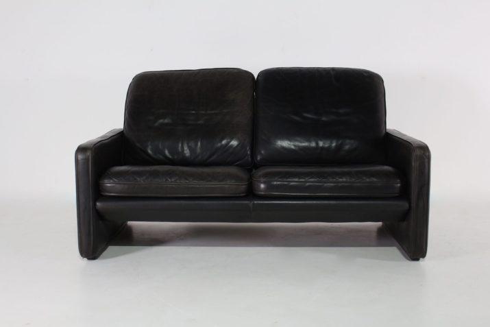 Canapé sofa en cuir noir de Sede Exclusive 1970's